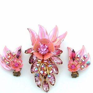Vintage Jewelry - SELRO Set Vintage Pin Designer Sparkling Jewels